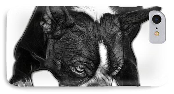 Greyscale Boston Terrier Art - 8384 - Wb IPhone Case by James Ahn