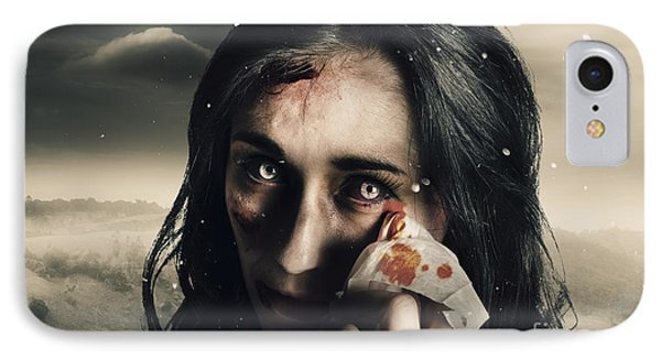 Grim Face Of Horror Crying Tears Of Blood IPhone Case by Jorgo Photography - Wall Art Gallery