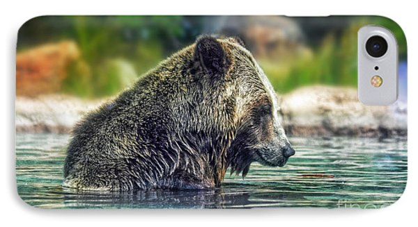 Grizzly Bear Enjoying A Dip In The Water  IPhone Case by Jim Fitzpatrick