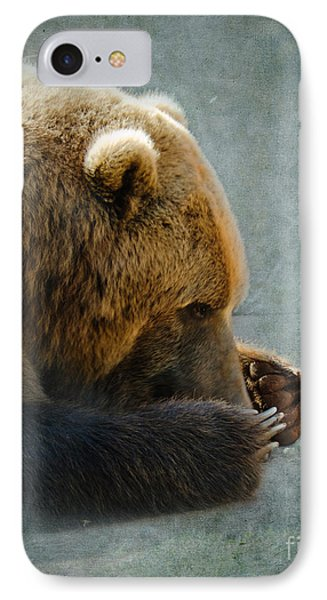 Grizzly Bear Lying Down Phone Case by Betty LaRue