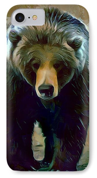 Grizzly Bear Strolls Painting  IPhone Case