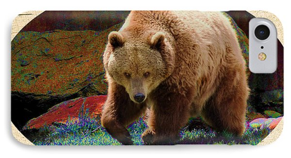 IPhone Case featuring the digital art Grizzly Bear With Enhanced Background by Kae Cheatham