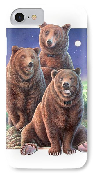 Grizzly Bears In Starry Night Phone Case by Hans Droog