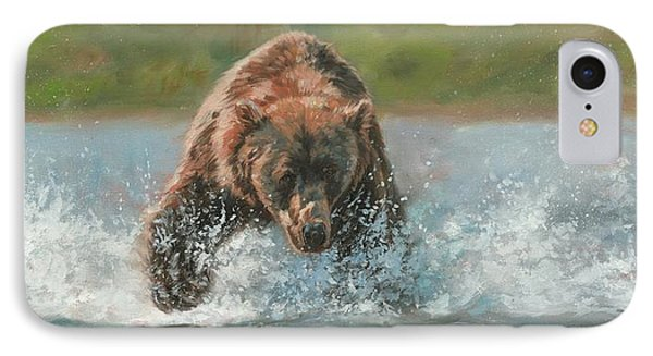 Grizzly Charge IPhone Case by David Stribbling