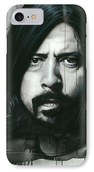 Dave Grohl - ' Grohl In Black ' IPhone Case by Christian Chapman Art