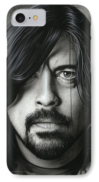 Dave Grohl - ' Grohl In Black II ' IPhone Case by Christian Chapman Art