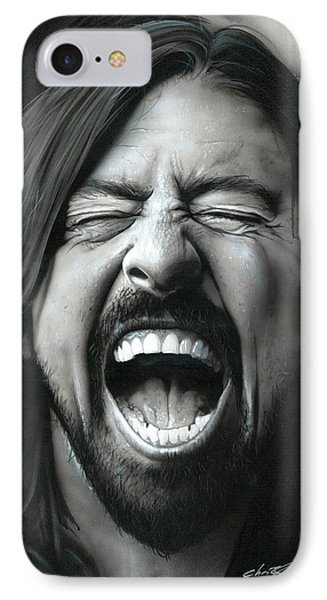 Dave Grohl - ' Grohl In Black IIi ' IPhone Case by Christian Chapman Art