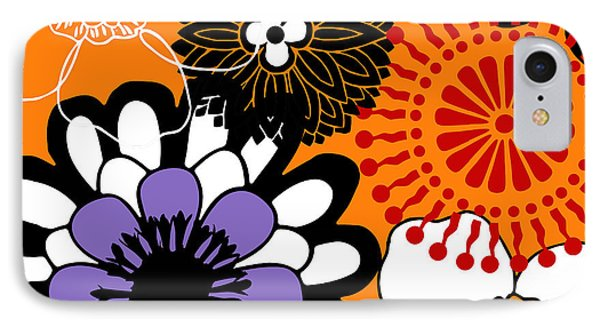 Groovy Floral Pattern Red IPhone Case