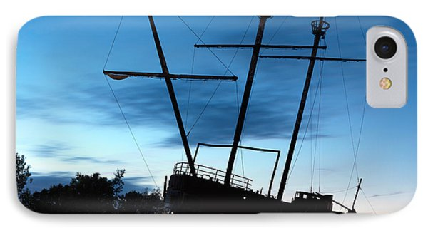 Grounded Tall Ship Silhouette IPhone Case by Oleksiy Maksymenko