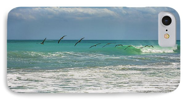 Group Of Pelicans Over The Ocean IPhone Case
