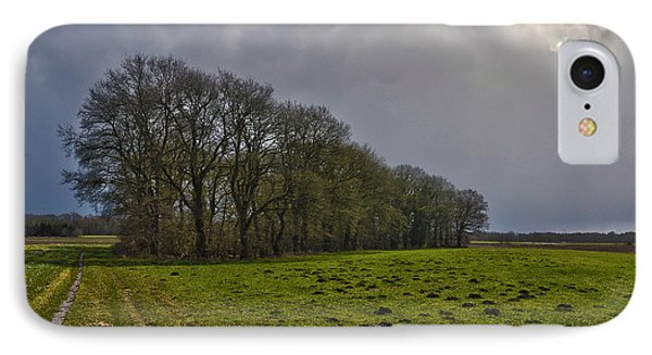 Group Of Trees Against A Dark Sky IPhone Case by Frans Blok