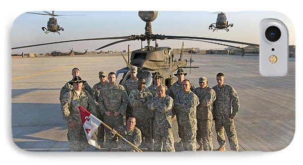 Helicopter iPhone 7 Case - Group Photo Of U.s. Soldiers At Cob by Terry Moore