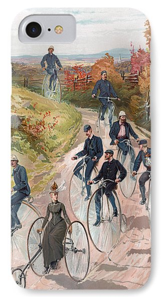 Group Riding Penny Farthing Bicycles IPhone Case by American School