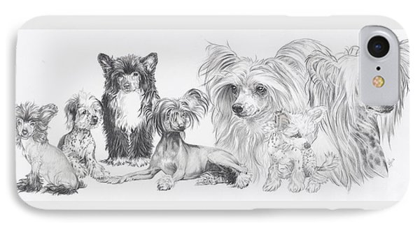 IPhone Case featuring the drawing Growing Up Chinese Crested And Powderpuff by Barbara Keith