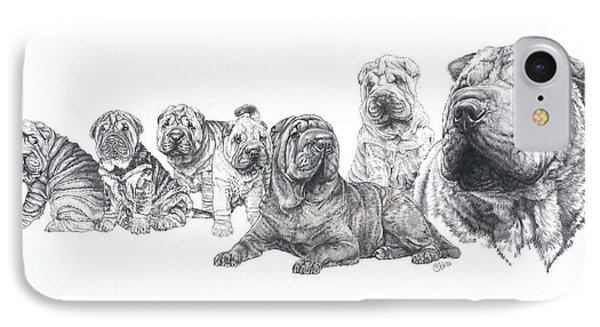 IPhone Case featuring the drawing Growing Up Chinese Shar-pei by Barbara Keith