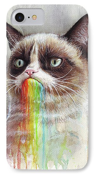 Cat iPhone 7 Case - Grumpy Cat Tastes The Rainbow by Olga Shvartsur