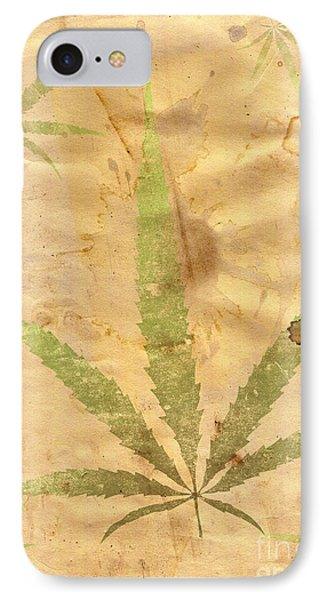 Grunge Paper With Leaf Of Grass Phone Case by Michal Boubin