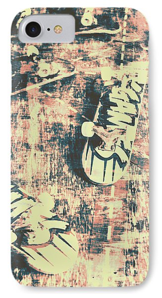 Grunge Skateboard Poster Art IPhone Case by Jorgo Photography - Wall Art Gallery