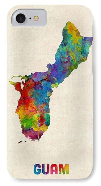 Guam Watercolor Map IPhone Case