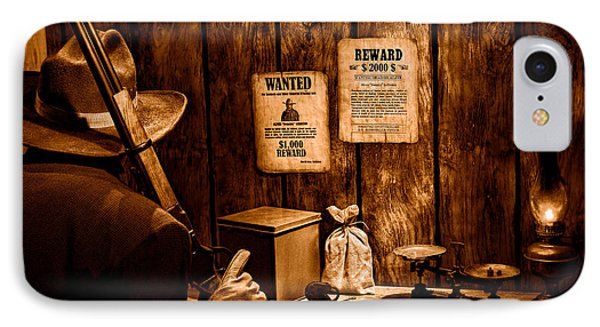 Guarding The Payroll - Sepia IPhone Case by Olivier Le Queinec