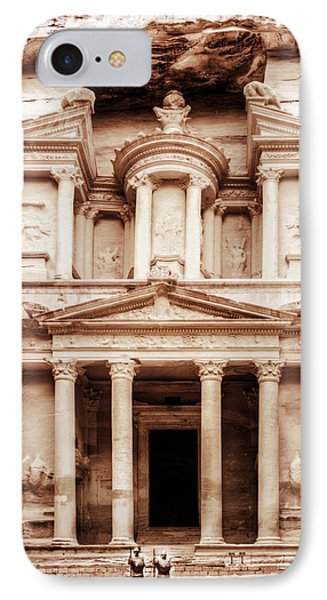 IPhone Case featuring the photograph Guarding The Petra Treasury by Nicola Nobile