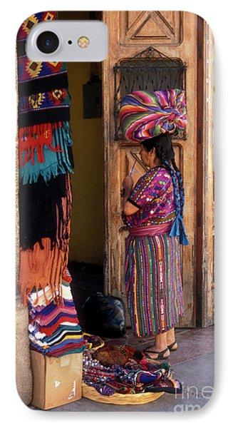 Guatemala Maya Textile Vendor IPhone Case by John  Mitchell
