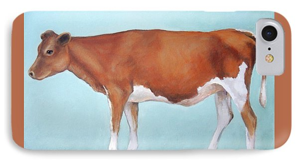 Cow iPhone 7 Case - Guernsey Cow Standing Light Teal Background by Dottie Dracos