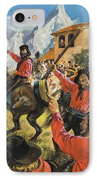 Guiseppe Garibaldi And His Army In The Battle With The Neopolitan Royal Troops IPhone Case by Andrew Howat