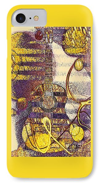 Guitar In  Sunny Purple Mood IPhone Case by Jasna Gopic