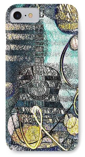 Guitar In The Blue Mood By Jasna Gopic IPhone Case by Jasna Gopic