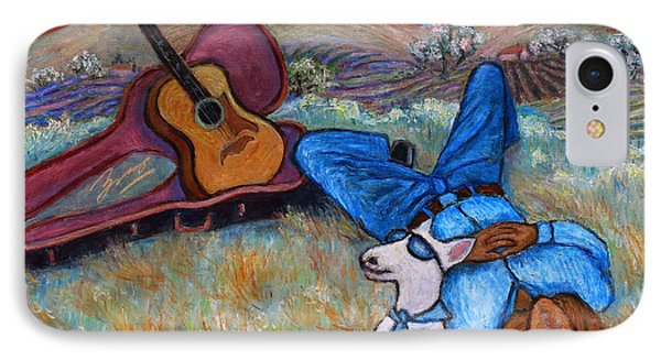 IPhone Case featuring the painting Guitar Doggy And Me In Wine Country by Xueling Zou