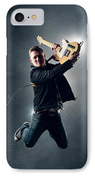 Guitarist Jumping High IPhone Case by Johan Swanepoel