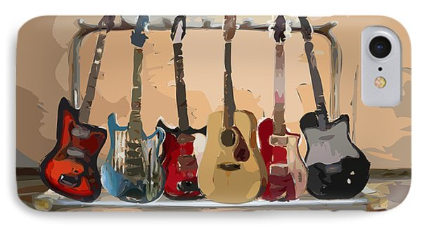 Guitars On A Rack Phone Case by Arline Wagner