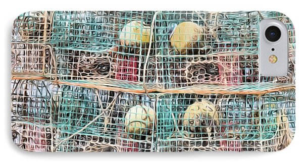 IPhone 7 Case featuring the digital art Gulf Coast Crab Traps by JC Findley