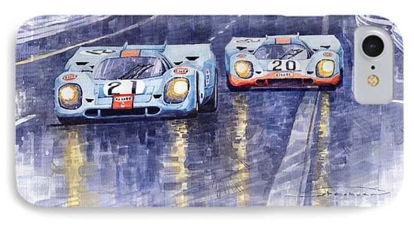 Gulf-porsche 917 K Spa Francorchamps 1970 IPhone Case by Yuriy  Shevchuk