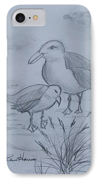 Gull Mom And Chick IPhone Case by Carlene Harris
