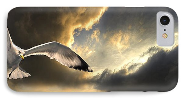 Gull With Approaching Storm IPhone Case by Meirion Matthias