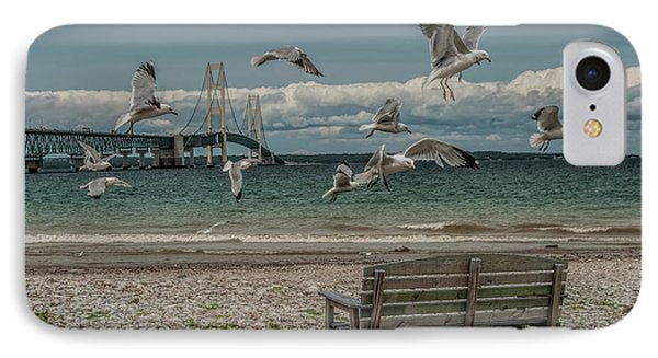Gulls Flying By The Mackinac Bridge At The Straits With Park Bench IPhone Case by Randall Nyhof