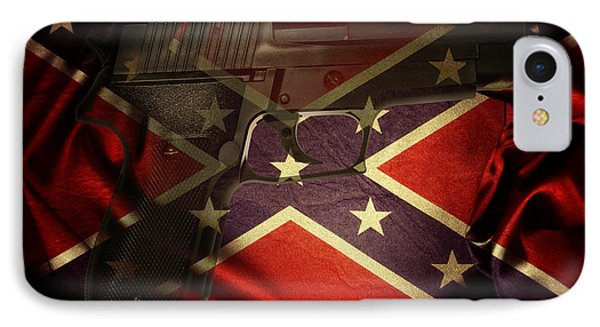 Gun And Flag IPhone Case by Les Cunliffe