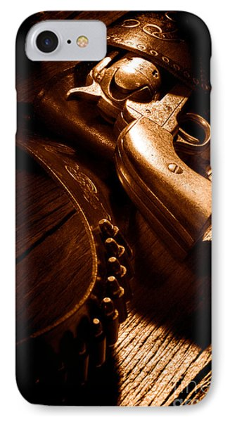 Gunslinger Tool - Sepia IPhone Case by Olivier Le Queinec