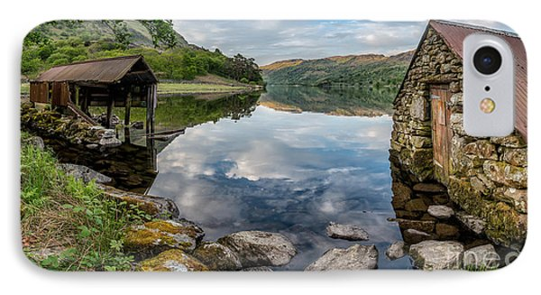 Gwynant Lake Boat House IPhone Case by Adrian Evans