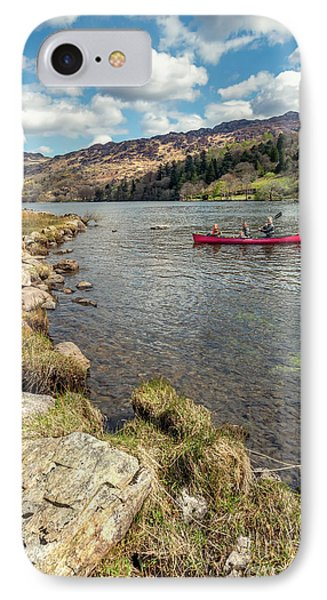 Gwynant Lake Canoeing IPhone Case by Adrian Evans