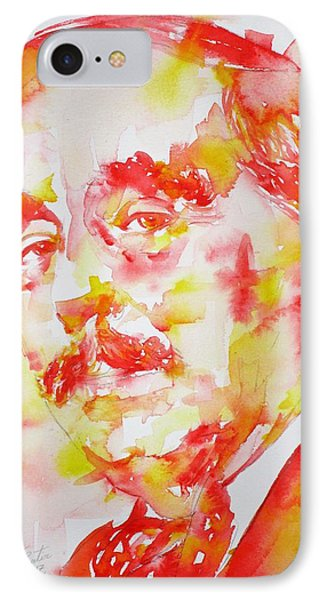 IPhone Case featuring the painting H. G. Wells - Watercolor Portrait by Fabrizio Cassetta