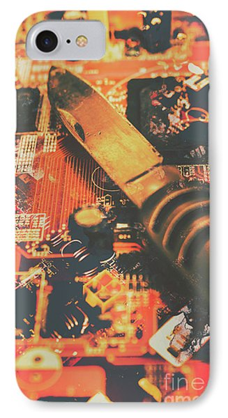 Hacking Knife On Circuit Board IPhone Case by Jorgo Photography - Wall Art Gallery