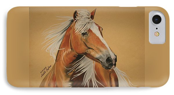 IPhone Case featuring the pastel Haflinger  by Melita Safran