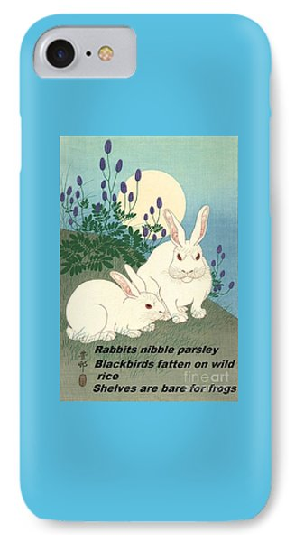 IPhone Case featuring the painting Haiku  Rabbits Nibble Parsley by Pg Reproductions