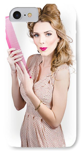 Hair Style Model. Pinup Girl With Large Pink Comb IPhone Case by Jorgo Photography - Wall Art Gallery