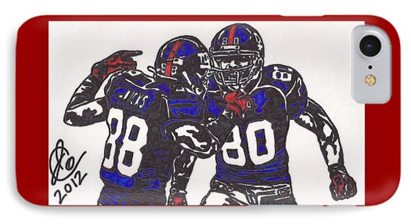 IPhone Case featuring the drawing Hakeem Nicks And Victor Cruz by Jeremiah Colley