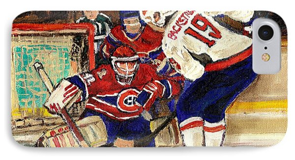 Halak Blocks Backstrom In Stanley Cup Playoffs 2010 IPhone Case by Carole Spandau