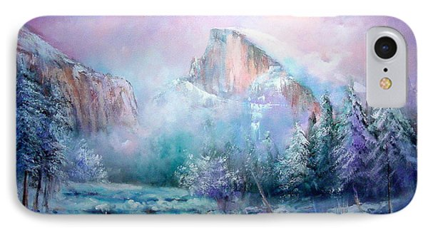 Half Dome Snow Phone Case by Sally Seago
